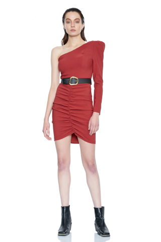 Tile crepe single sleeve mini dress