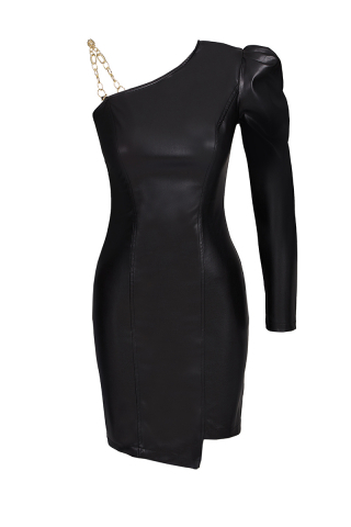 Black leather single sleeve mini dress