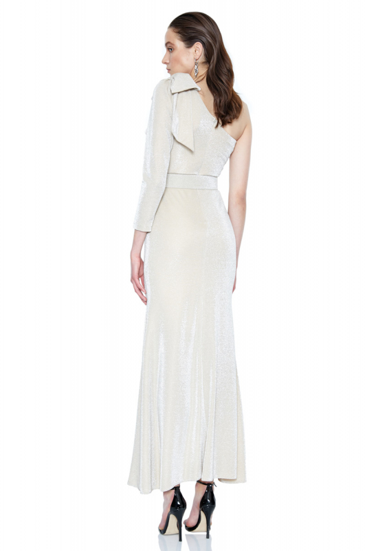 Gold velvet 13 single sleeve maxi dress