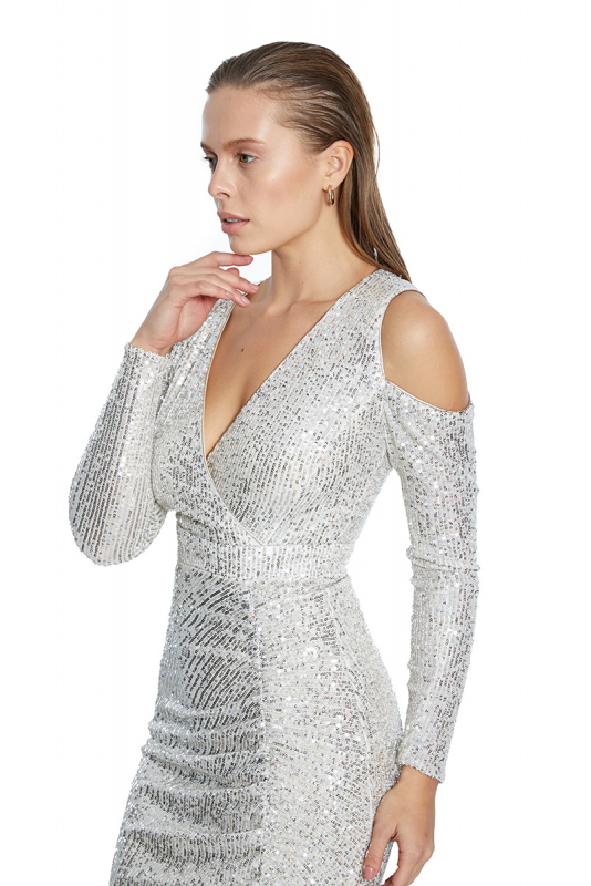 Silver sequined long sleeve midi dress