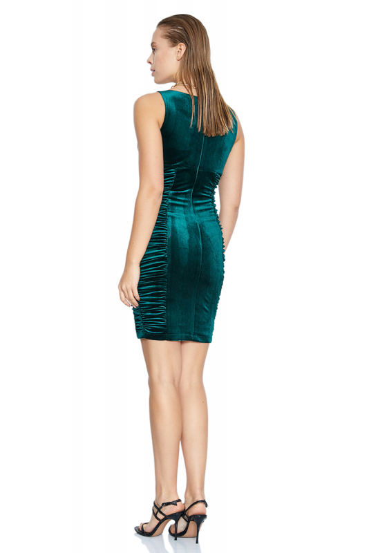 Green velvet sleeveless mini dress