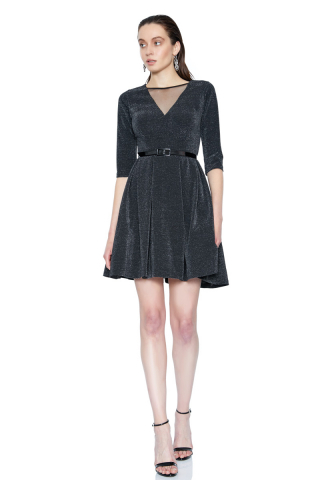 Black velvet 13 3/4 sleeve mini dress