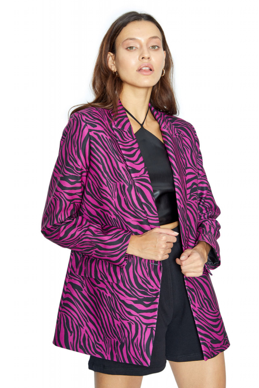 crepe long sleeve jacket