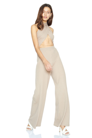 Beige knitted long trousers