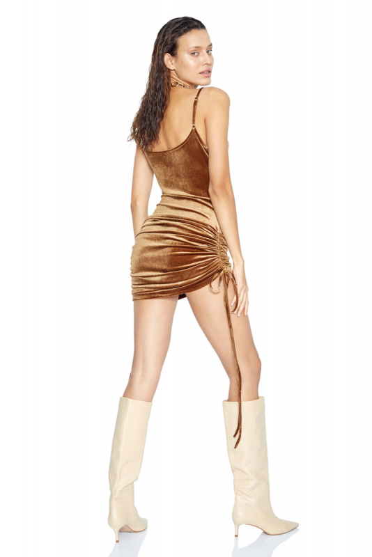 Camel velvet sleeveless mini dress
