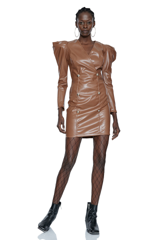 Brown leather long sleeve mini dress