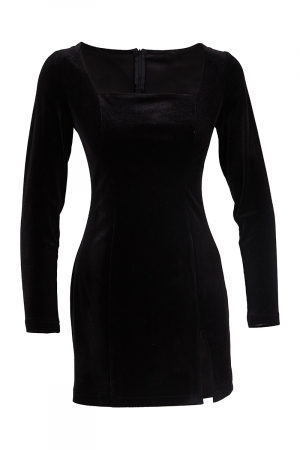 Black velvet long sleeve mini dress
