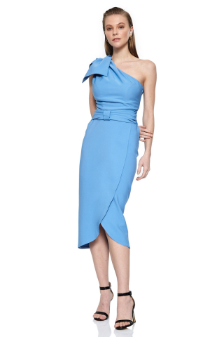 Blue crepe sleeveless midi dress