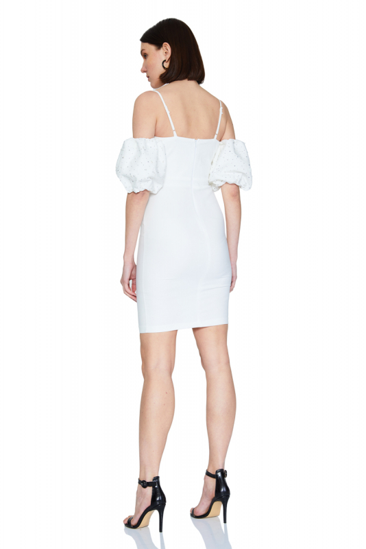 White crepe short sleeve mini dress