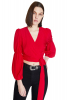 Red chiffon long sleeve mini blouse