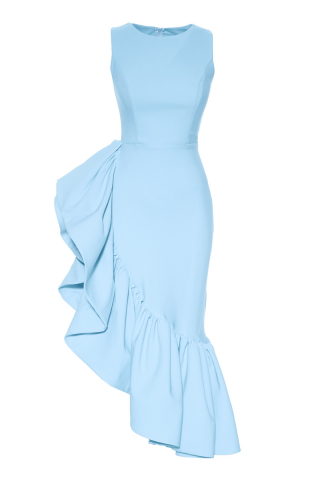 Blue crepe sleeveless maxi dress