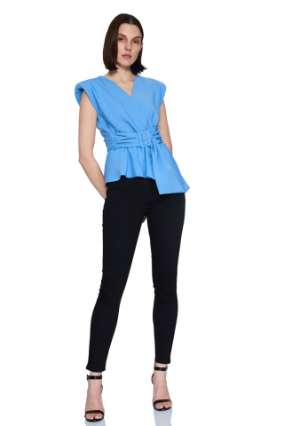 Blue crepe sleeveless mini blouse