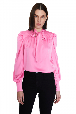 Pink 046 satin long sleeve midi blouse