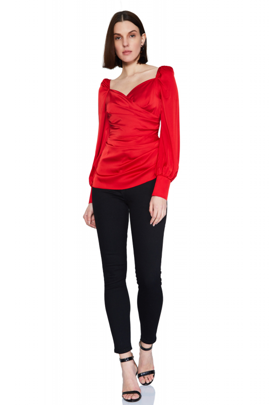 Red satin long sleeve mini blouse