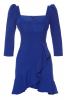 Sax crepe 3/4 sleeve mini dress
