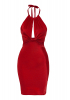 Red satin sleeveless mini dress