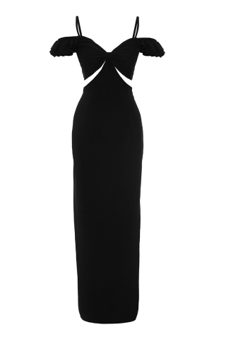 Black crepe sleeveless long dress