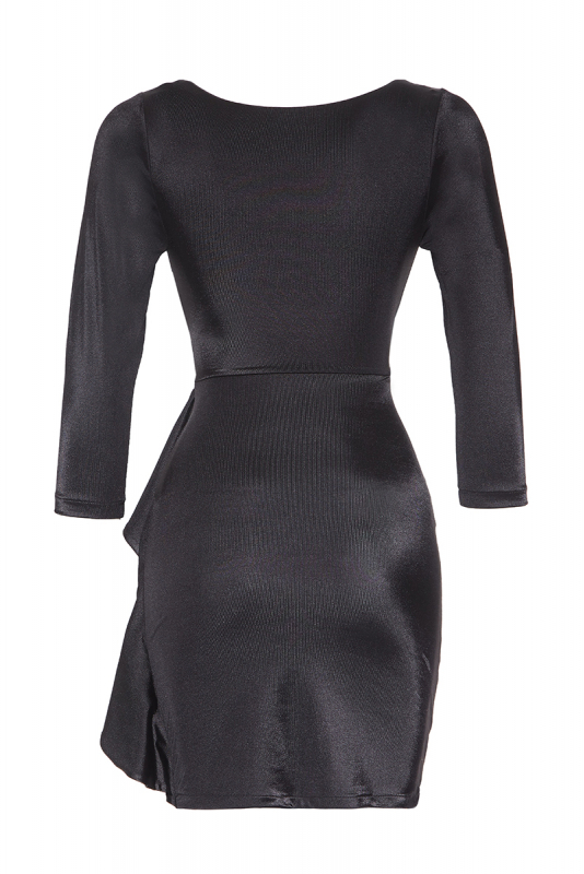 Black satin 3/4 sleeve mini dress