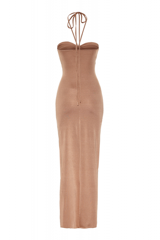 Gold satin sleeveless maxi dress