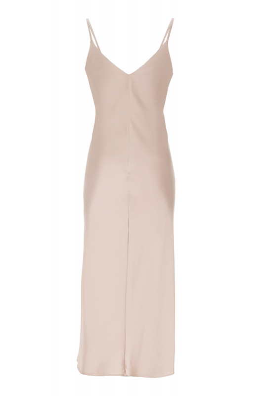 Beige satin sleeveless maxi dress