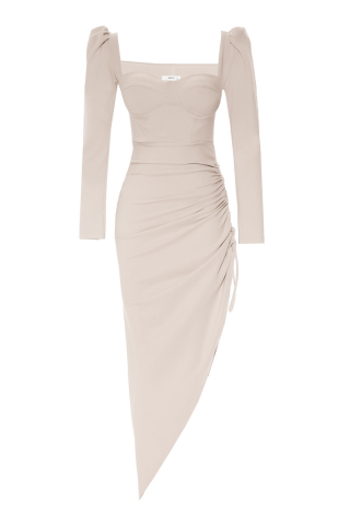 Beige crepe long sleeve maxi dress