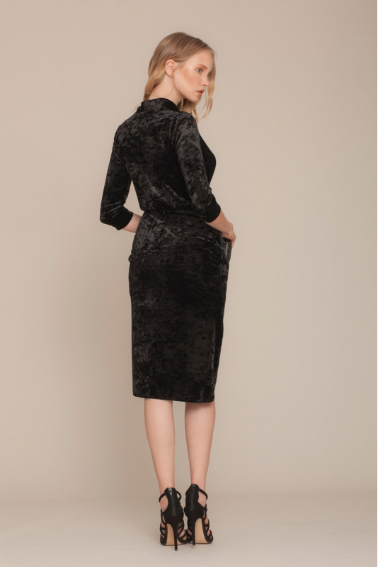Black velvet 3/4 sleeve midi dress