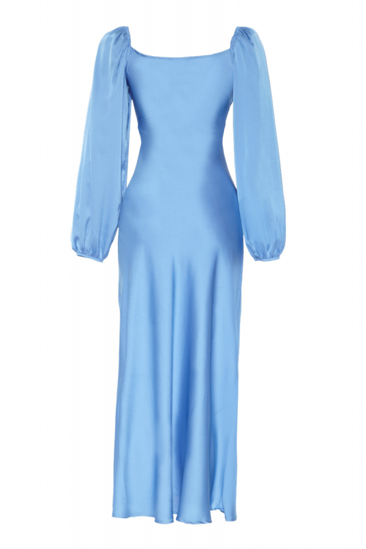 Blue satin long sleeve maxi dress