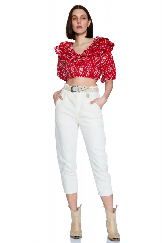Red lace short sleeve mini blouse