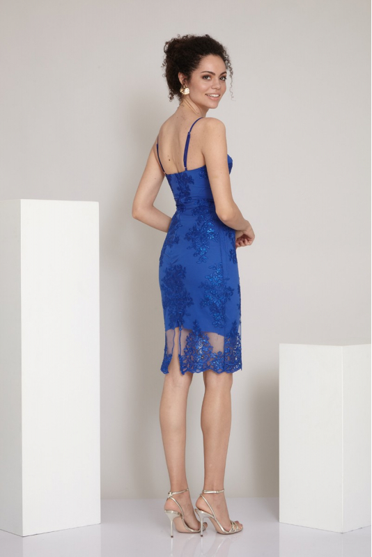 Sax lace sleeveless midi dress
