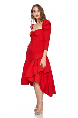 Red plus size crepe long sleeve maxi dress
