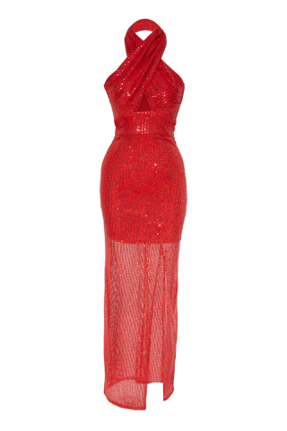 Red sequined sleeveless long dress