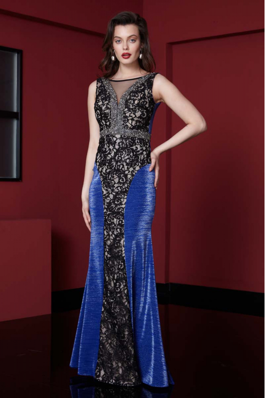 Sax knitted sleeveless maxi dress