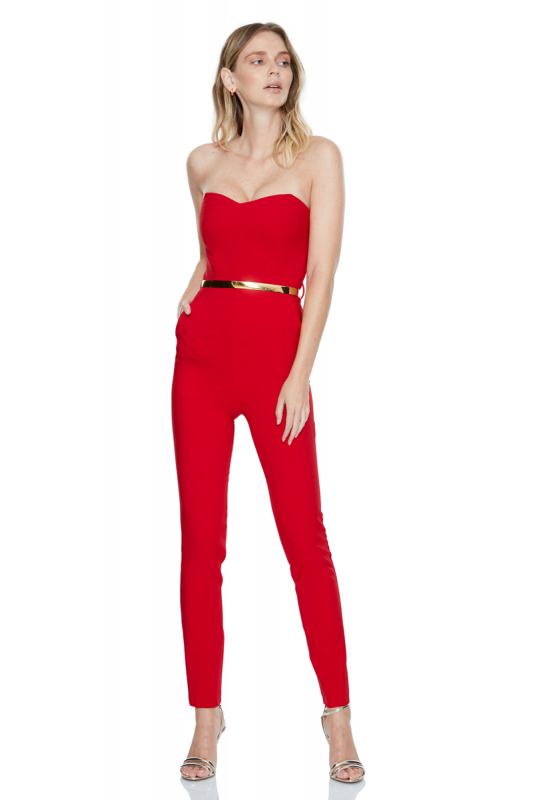 Red crepe strapless maxi trousers