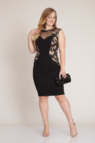 Black plus size crepe sleeveless mini dress