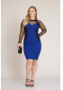 Sax plus size crepe long sleeve mini dress