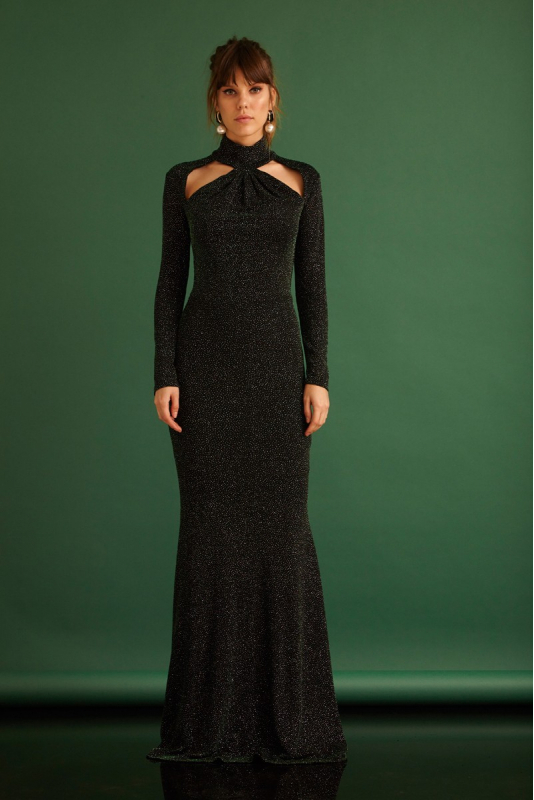 Dark green knitted long sleeve maxi dress