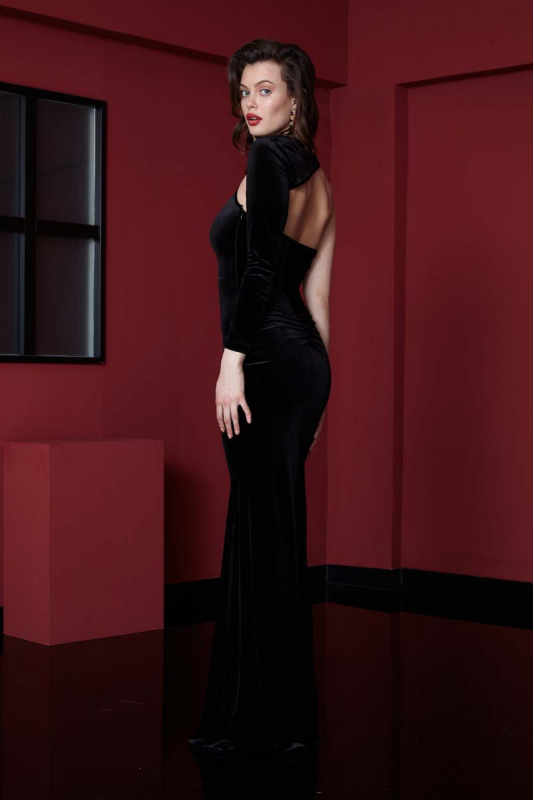 Black velvet single sleeve maxi dress