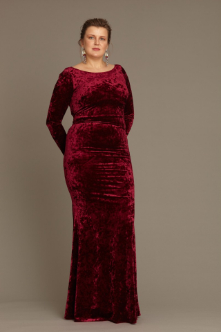 Claret red plus size velvet long sleeve maxi dress