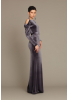 Grey velvet long sleeve maxi dress