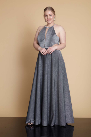 Silver plus size velvet 13 sleeveless maxi dress