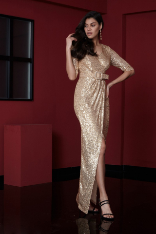 Gold sequined 3/4 sleeve maxi dress