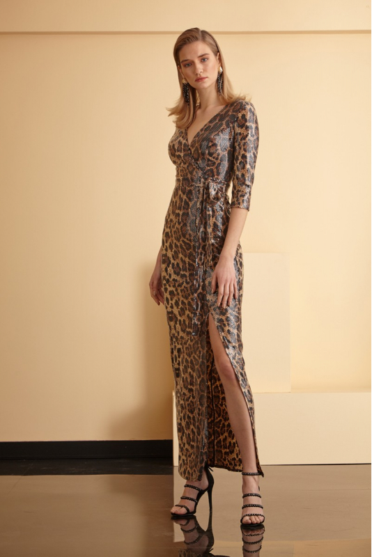 Leopard sequined short sleeve maxi dress