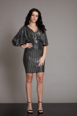Mirrored silver sequined short sleeve mini dress