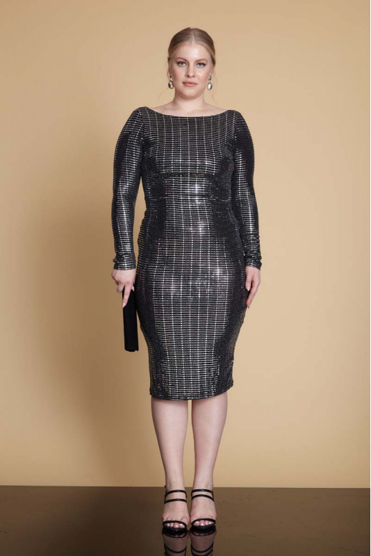 Mirrored silver plus size sequined long sleeve mini dress