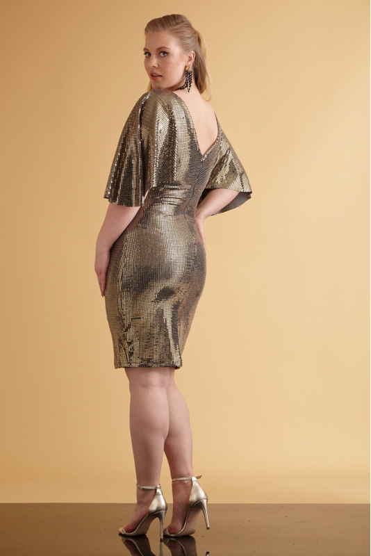 Mirrored gold plus size sequined short sleeve mini dress