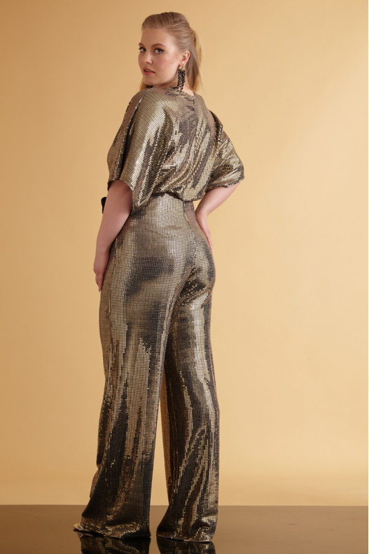 Mirrored gold plus size sequined long sleeve maxi overall