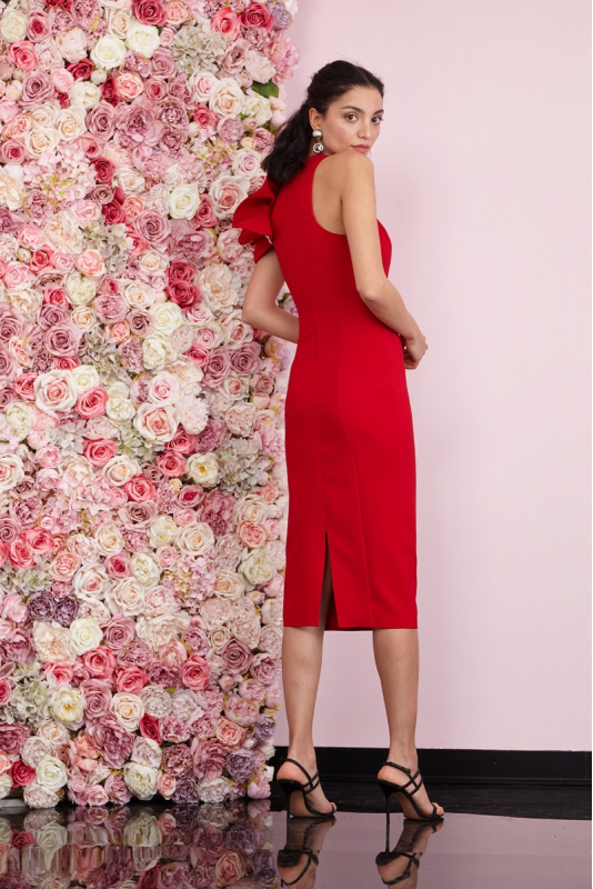 Red crepe sleeveless midi dress