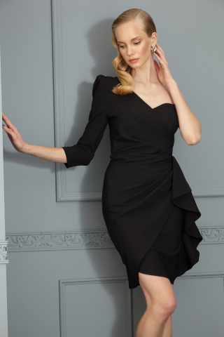 Black crepe single sleeve mini dress